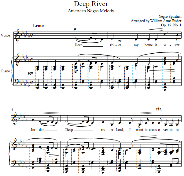 arr. William Arms Fisher - Deep River (American Negro Melody)