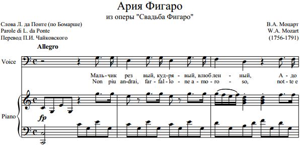 "В.А. Моцарт - Ария Фигаро из оперы ""Свадьба Фигаро"""