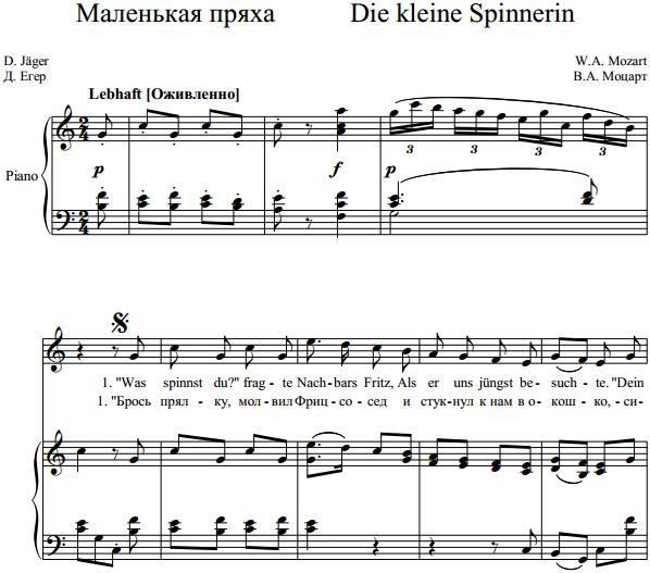 В.А. Моцарт - Маленькая пряха Die kleine Spinnerin